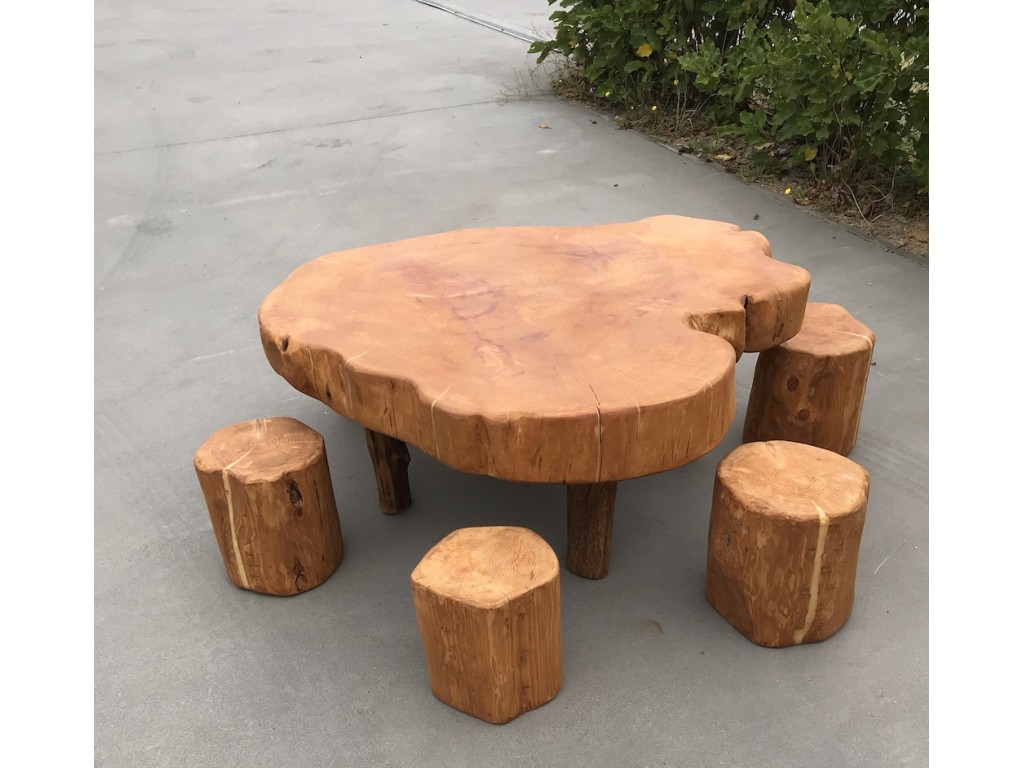 Stump Table And 6 Stump Seats In Tables Benches Chairs