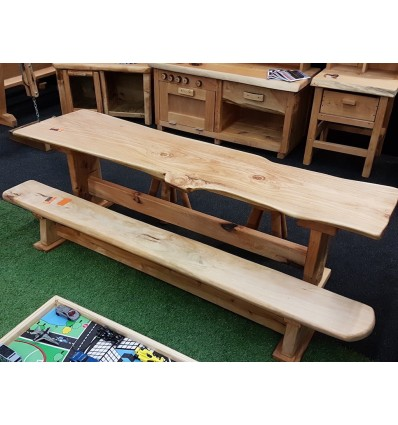Natural wood bench seat 2.7m l x 0.3m w x 0.3m h