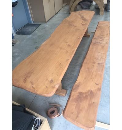 Natural wood bench seat 2.7m l x 0.3m w x 0.3m h